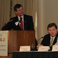 "Tom Kuhn, Edison Foundation, Dr. Michael Howard, EPRI, and Diane Munns, EEI, at the ""Keeping the Lights On: Our National Challenge"" two-day conference in New York, April 21-22nd  sponsored by the Edison Foundation."